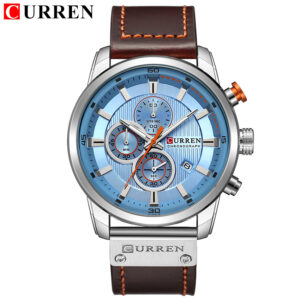 CURREN   Genuine Leather Strap water resist Chronograph date display expedition watch white